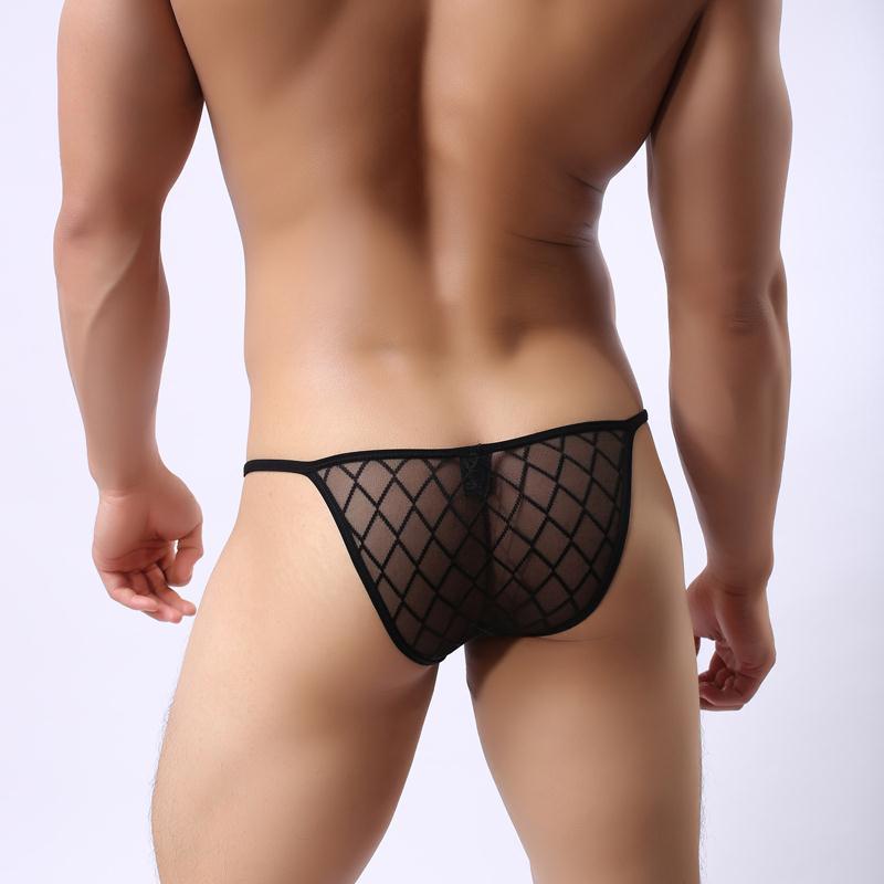 Black Sexy Men's Underwear Briefs Men Fishnet Transparent Briefs Low-waist Perspective Net Yarn Grid Men Briefs Gay Underwear
