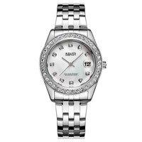 OUBAOER Marka Lüks Kadın Saatler Taklidi Bağlantı Bilezik Izle Kadın Kadın Saat Takvim Kuvars Kol Montre Femme