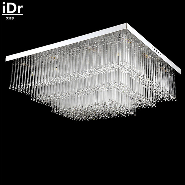 Modern Simple Rectangular LED Crystal Ceiling Lamp Bedroom Living Room  Lamps Atmospheric Restaurant Ceiling Lights L800XW600MM