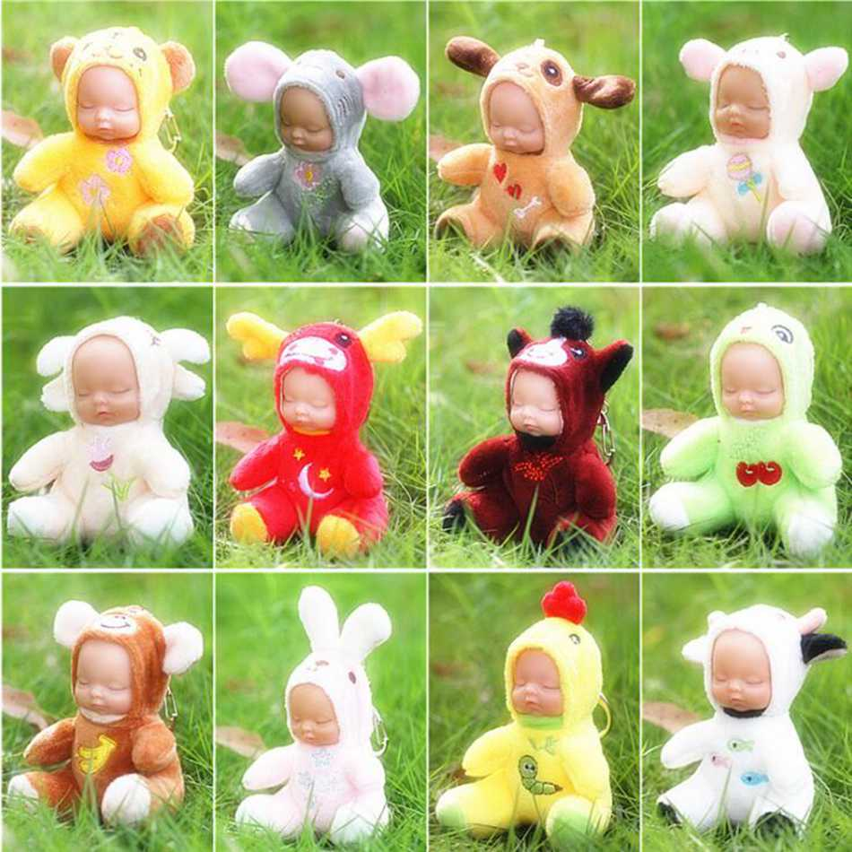 Cute Baby Plush Stuffed Key Chain Toys For Children Soft Cows Rabbit Eyes Closed Doll Toy Best Kawaii Birthday Gift Brinquedos bookfong 1pc 35cm simulation horse plush toy stuffed animal horse doll prop toys great gift for children