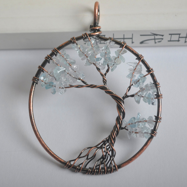 Round Handmade Tree of life Blue Stone Bronze Copper Wire Wrap ...