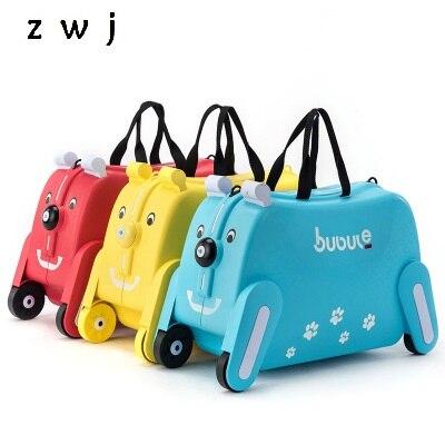 Kreatywny zwierząt szafki dla dzieci skrzynka na zabawki bagażu pudełko z wyciąganą rączką może usiąść do jazdy walizka podróżna dla dzieci prezent dla dzieci w Walizka na kółkach od Bagaże i torby na  Grupa 1