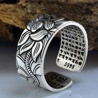999 Sterling Silver Lotus Heart Thai Silver Ring Retro Men S Tide Open Size Jewelry
