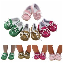 "Spring New Doll Shoes For 43cm New Born Baby Pink Loafer Shoes For 18"" Girls Doll Shoes Sneacker Doll Accessories(China)"