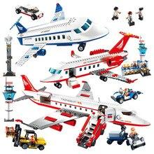 Gudi Large International Airport Passenger Plane Model Building Blocks Enlighten Figure Toys For Children Christmas Gift