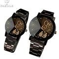 Amantes reloj mujeres hombres relojes yazole brand 2016 mujer hombre reloj de acero negro reloj de señoras del cuarzo de reloj del relogio feminino