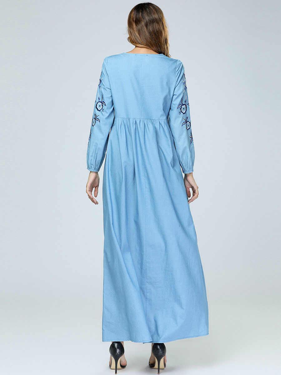 Мусульманское женское платье Abayay джинсовое с вышивкой длинное платье мусульманское вышитое свободное платье 7397 #
