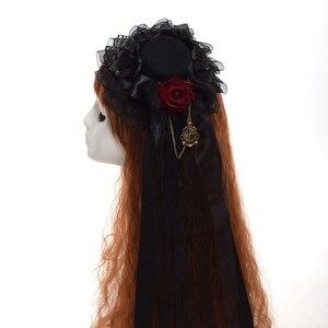 Image 5 - Mini sombrero negro Clip de pelo bonito gótico Lolita niñas Rosa cabeza desgaste accesorios de pelo carnaval boda fiesta Carnaval