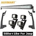 Auxmart 500 Вт 52 дюймов CREE Чипы 5D Светодиодные Бар Combo Луч + 18 Вт 4 дюймов Пятно/Наводнение Светодиодный Свет + Крепление для Jeep Wrangler JK
