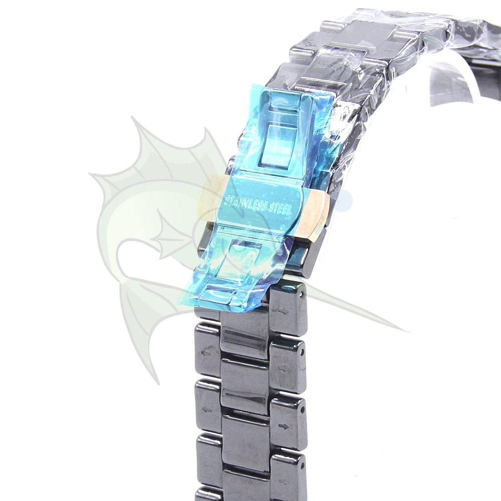 Image 2 - High End Ceramic Watch Strap Black Color Butterfly Buckle Bracelet Ceramic Watchband for AR1410 AR1400,22mm Ceramic WatchbandWatchbands   -