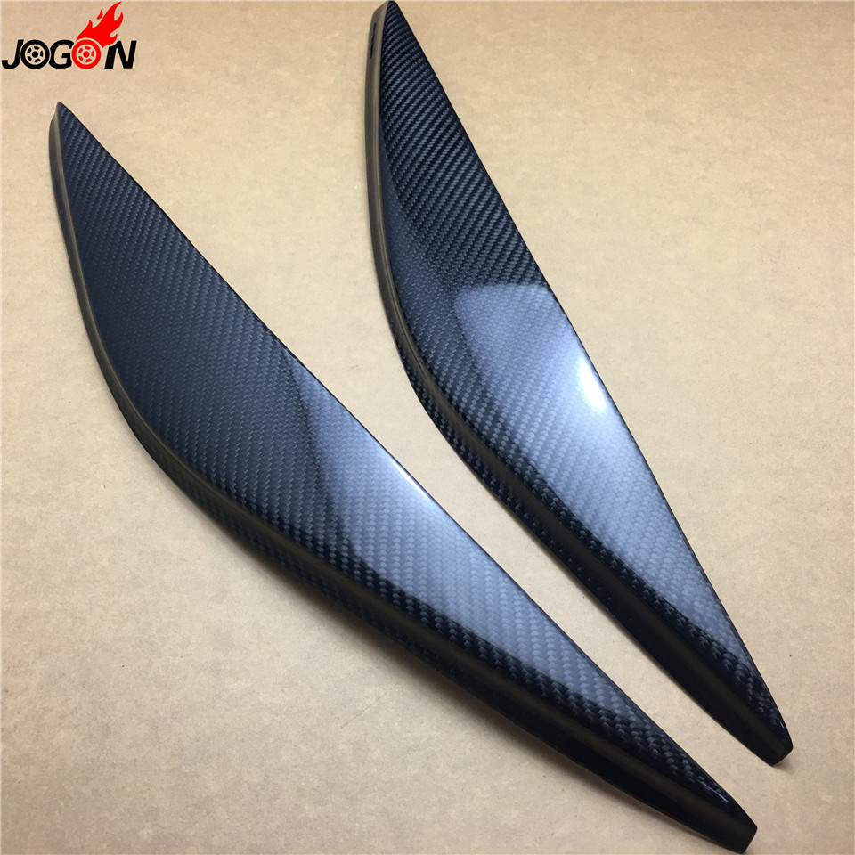 hight resolution of 2pcs set carbon fiber front head light lamp cover eyelid eyelids eyebrow for ford fiesta
