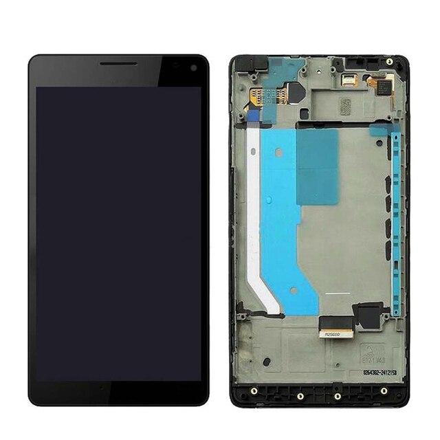 """สีดำสำหรับ 5.7 """"Microsoft Nokia Lumia 950XL touch หน้าจอ LCD และ digitizer assembly สำหรับกรอบสำหรับ Lumia 950 XL RM 1116"""