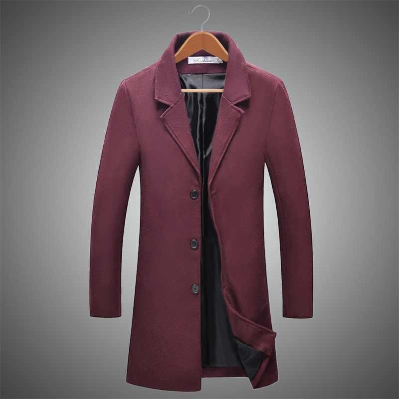 2018 зима шерстяной Тренч Мужская Осенняя средняя Длинная Куртка мужская однотонная приталенная флисовая мужские пальто шерсть abrigo hombre