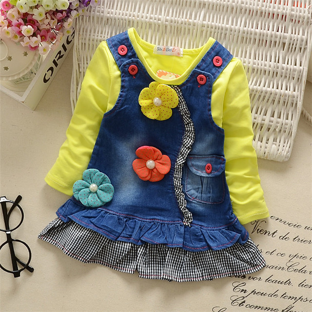 New 2016 Autumn Baby Girl Clothing Sets Fashion Cowboy Cotton Long Sleeve T-shirt and Cartoon Strap Dress Girls Clothes Baby Set