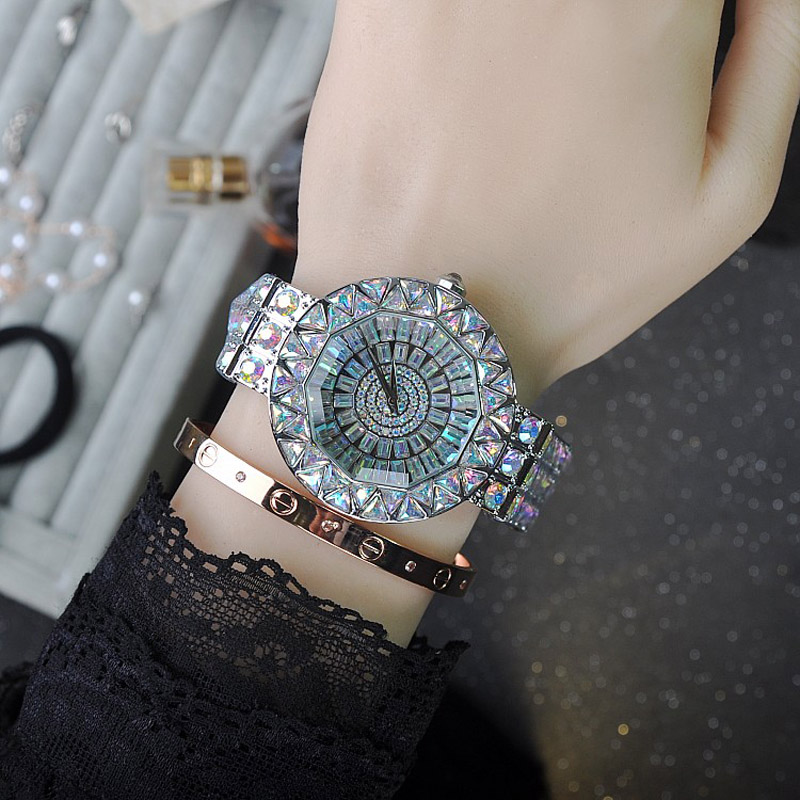 2018 Top Brand Fashion Women Quartz Watch Stainless Steel Watches Lady Shining Dress Bracelet Big Diamond Clocks  Montre Femme bs brand women luxury fashion rhinestone watches lady shining dress watch square bracelet wristwatch ladies diamond quartz watch