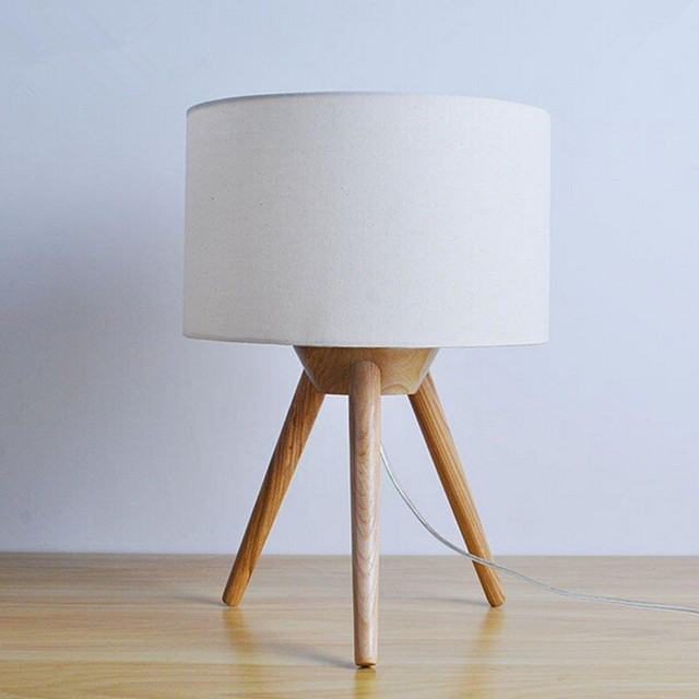 Modern Table Lamp Wood Light Led Light Cloth Lamp Shade Three Legs Lamp Bed  Room Office Gallery