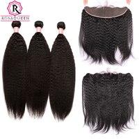 Kinky Droite Cheveux 13x4 Dentelle Frontale Fermeture Avec des Faisceaux 4 Pcs/Lot 3 Brésilienne Vierge de Cheveux Weave Rosa Reine produits