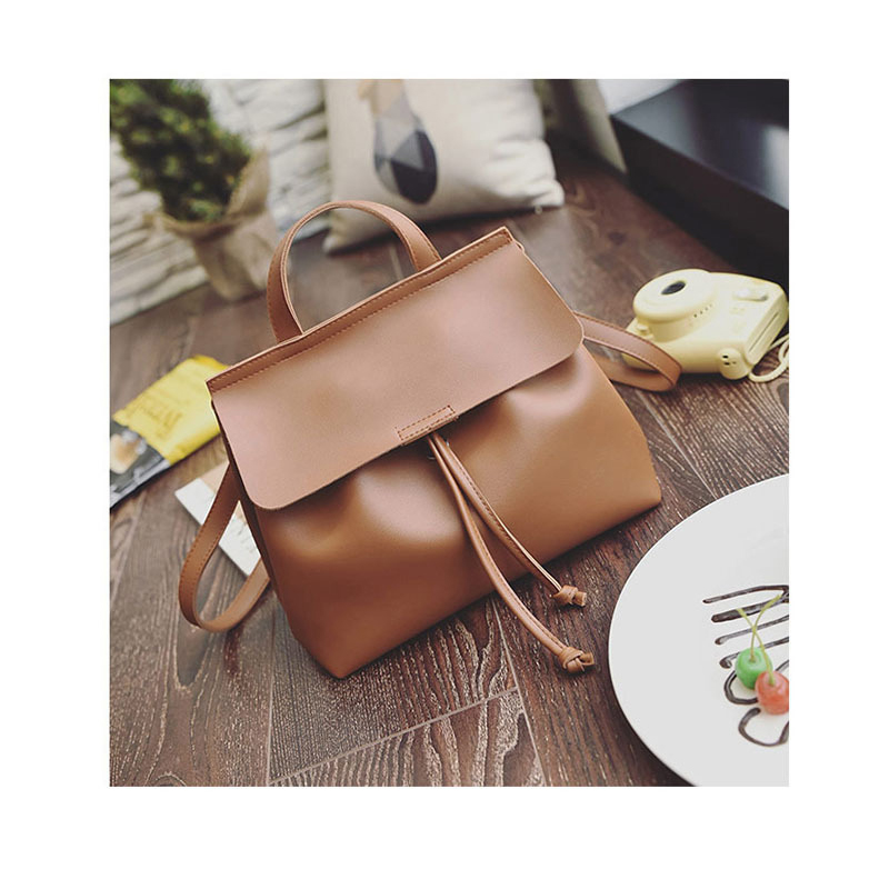 ФОТО 2017 New High Quality PU leather Backpack Women Girls Light Handle Shoulder Bag Solid Color functional Travel Bag