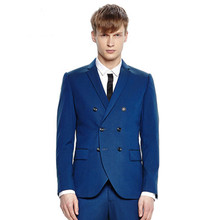 new Men's suits handsome men fall slim suits Retro Blue Suit Jacket slim tide Wedding Suits PromFormBridegroom ( jacket + pants)