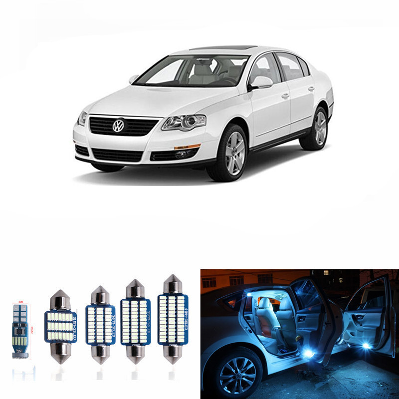 11pc Canbus Dome Map Glove Box Door Footwell Vanity Truck Bulb Lighting Package Interior Led Kit for Volkswagen VW Passat B6