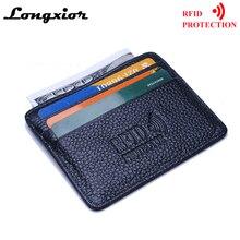MRF12 RFID Блокировка тонкий кожаный бумажник коровья кожа Передний карман Кредитная карта чехол держатель для карт с удостоверением личности