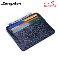 MRF12 RFID Blocking Slim Leather Wallet Cow Leather Front Pocket Credit Card Case Card Holder With ID Window Identity Protection