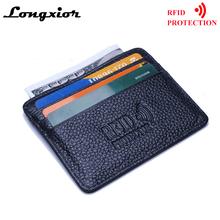 MRF12 RFID blokowanie Slim skórzany portfel skóra bydlęca Przednia kieszeń karta kredytowa etui na kartę z ID Ochrona tożsamości okna tanie tanio Posiadacze kart IDENTYFIKATOROWYCH Casual Unisex Pole 3inch Stałe Bez zamków błyskawicznych Skóra bydlęca Top LONGXIOR