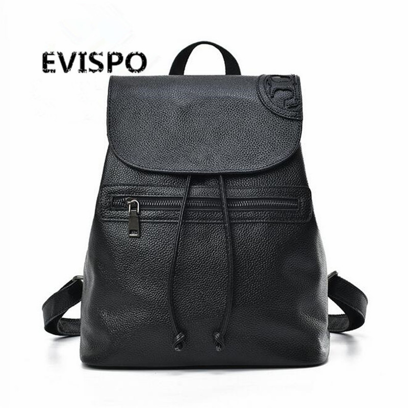 ФОТО EVISPO Fashion Genuine Leather Women Backpack Hot High Quality Famous Brand Preppy Style String Women School Bag Girl Travel Bag