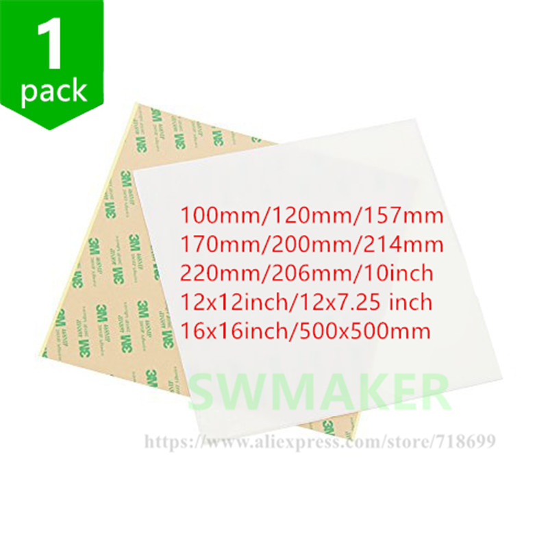 SWMAKER 1pcs Polish PEI Sheet 3D Print Build Surface Polyetherimide PEI Sheet 8''/220mm/10''/12''/16''/500mm