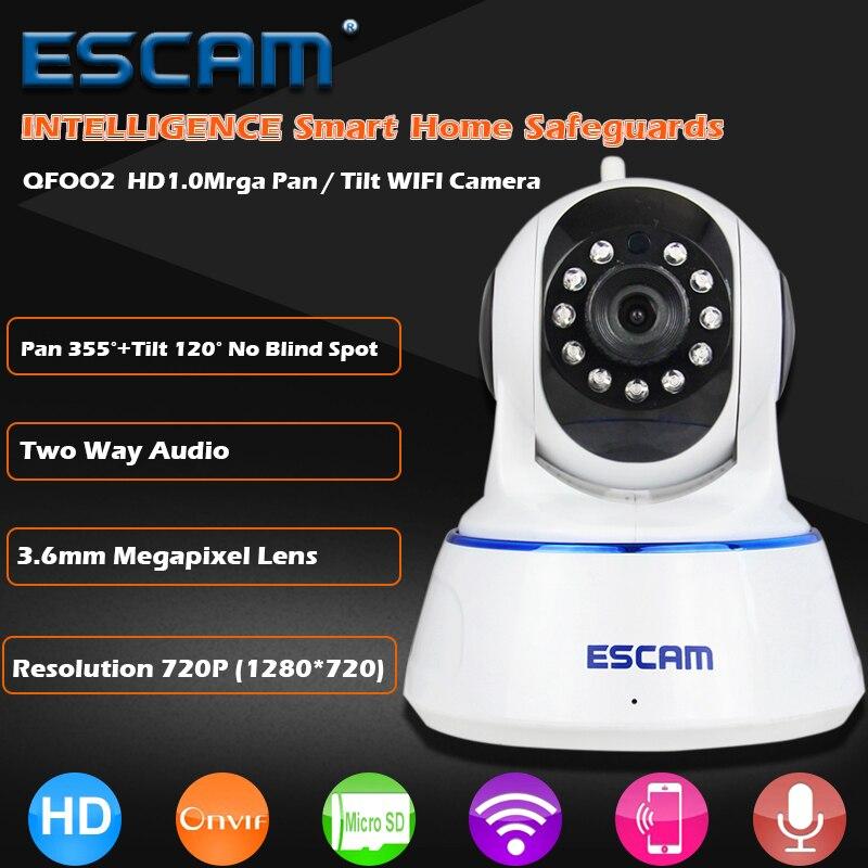 bilder für Escam qf002 hd 720 p ip-kamera wireless digital babyphone nachtsicht p2p wifii infrared security überwachung cctv dome cam