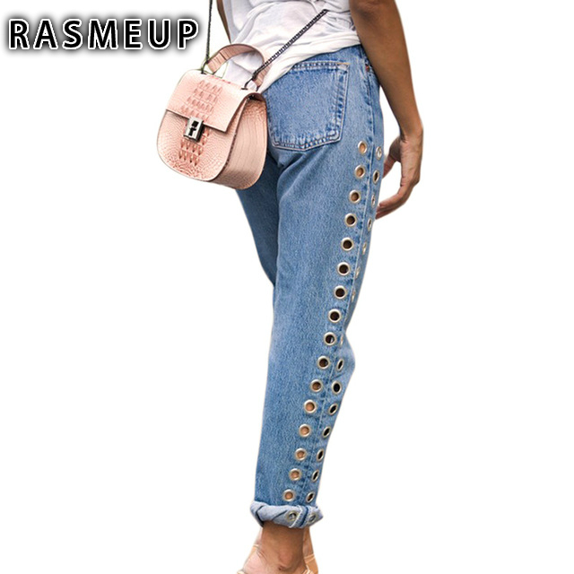 ФОТО RASMEUP Women Denim Jeans Rivets Ripped High Waist Boyfriend Jeans Ladies Straight Eyelet Detail Woman Pants Female Calca Jeans