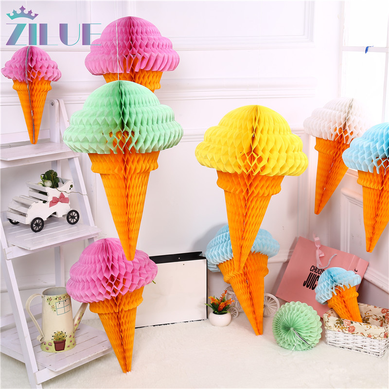 Zilue 5pcs / Lot Ice Cream Honeycomb Balls Paper Lanterns Bröllopsdekorationer Supermarknader Shopping Marknader Utomhusdekoration