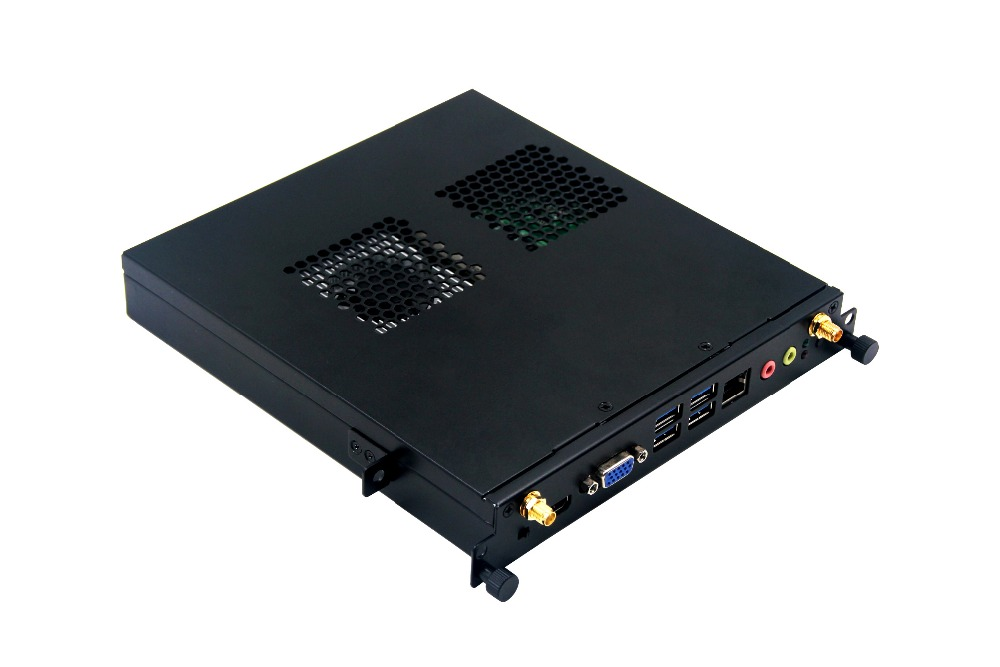 Cheap price 12-19v input intel i7 OPS Mini cooling computer with dual dispaly 4*usb3.0