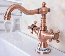 New Antique Red Copper Double Handle Control Faucet Kitchen Bathroom Basin Hot and Cold Mixer Tap znf615 contemporary wall in double handle double control waterfall kitchen faucet silver