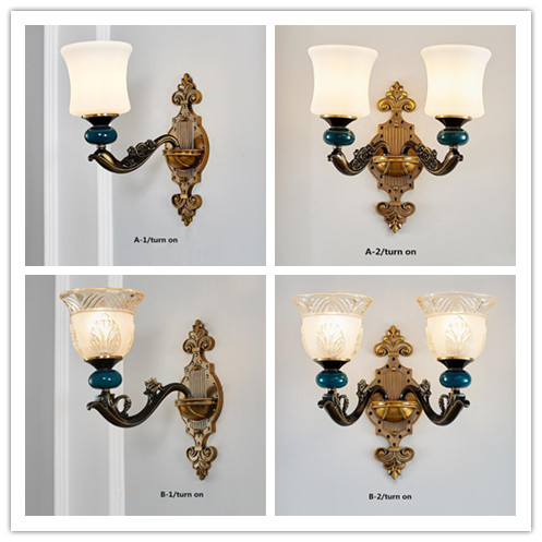 European wall lamp living room dining room bedroom study hotel hotel duplex building wall zinc alloy crystal wall lamp.