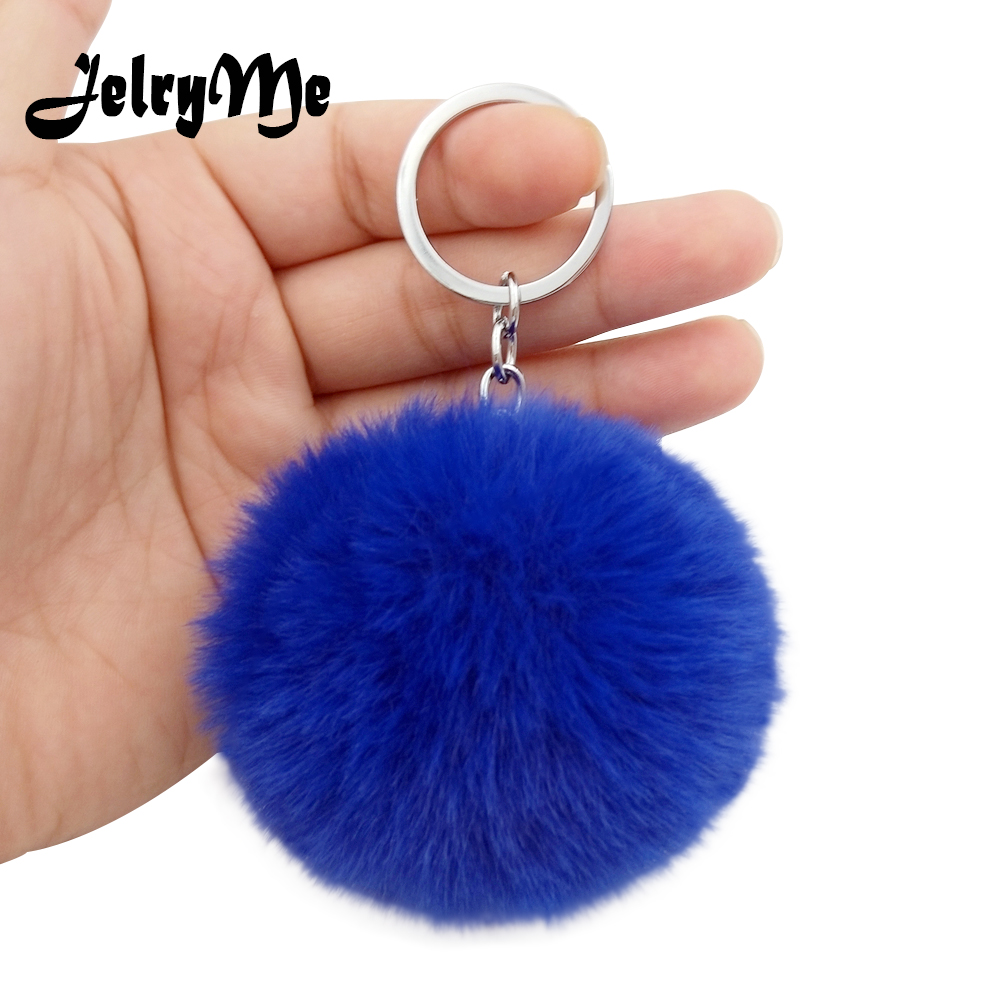 17 Colors Fluffy Fur Pom Pom Keychains Soft Faux Rex Rabbit Fur Ball Car Keyring Pompom Key Chains Women Bag Pendant Jewelry Diy delicate faux fur dot mini bag shape keyring for women
