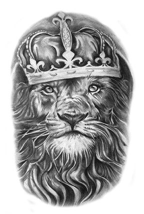 Waterproof Temporary Tattoo Stickers Vintage Grey Lion King Royal