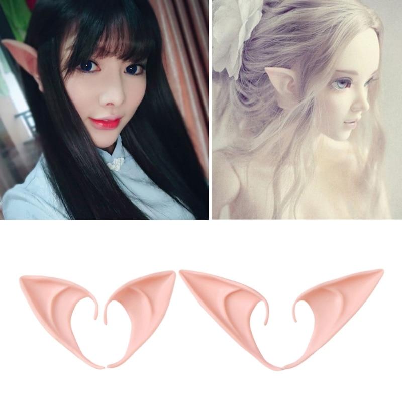 1 Pair Halloween Party Elven Elf Ears Anime Fairy Cospaly Costumes Vampire Latex