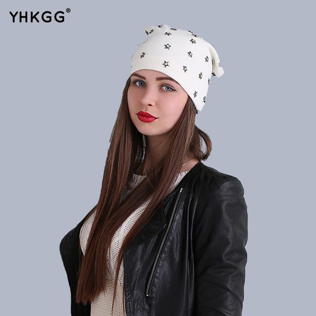 2016 la tendencia de la calle estrella de la manera del casquillo del oído encantadora naughty lana sombrero de la última moda, cálido y hermoso