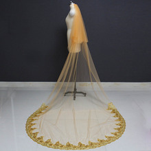 Gold Long Bridal Veil 2 T Cathedral 3 Meters Bling Sequins Lace Cover Face with Comb Wedding Bride Accessories