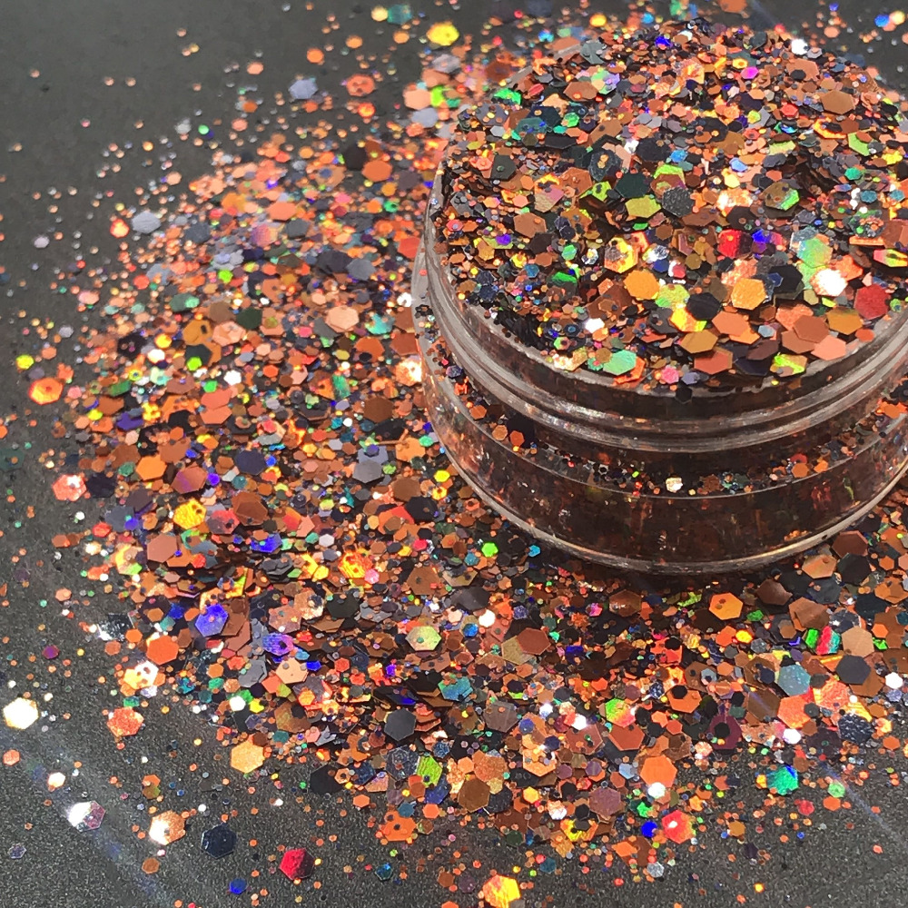 AL214-104  Mix Holographic Colors Hexagon Shapes Spangles For Nail Art And DIY Supplies1pack=50g