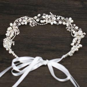 Image 2 - Leliin 淡水真珠贅沢結婚式のヘアつるブライダルヘッドピース花嫁クリスタルヘアアクセサリーリボン