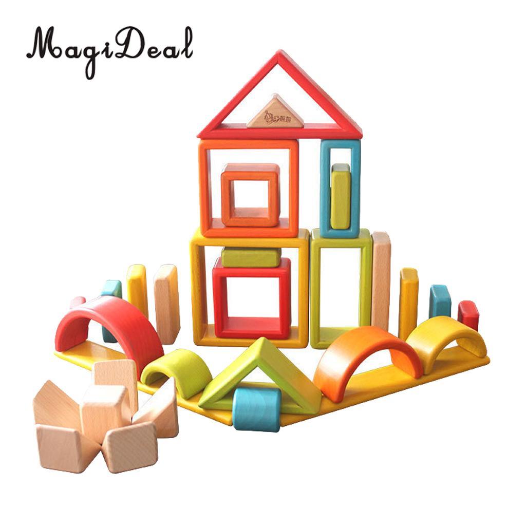 32-piece Kids Wooden Rainbow Stacking Blocks Educational Montessori Toys