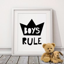 Boys Rule Typography Poster , Motivational Quotes Digital Canvas Wall Picture Canvas Prints Nursery Art Kids Room Decor No Frame