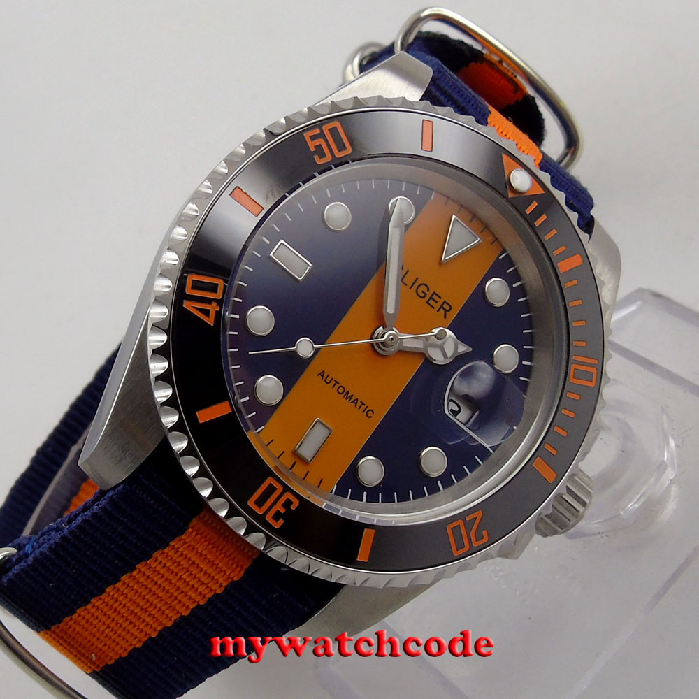 40mm bliger blue & orange dial sapphire crystal automatic movement mens watch113