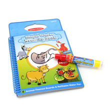 Kids Magic Water Drawing Book Animal bull Coloring Doodle Painting Board w/ Pen