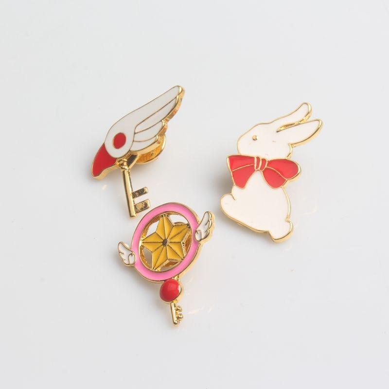 Anime Cartoon Sailor Moon Brooch Cute Enamel Rabbit Key