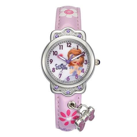 Disney marque dessin animé enfants filles montres mickey mouse Elsa princesse enfants horloges diamant étanche en cuir montre-bracelet à quartz