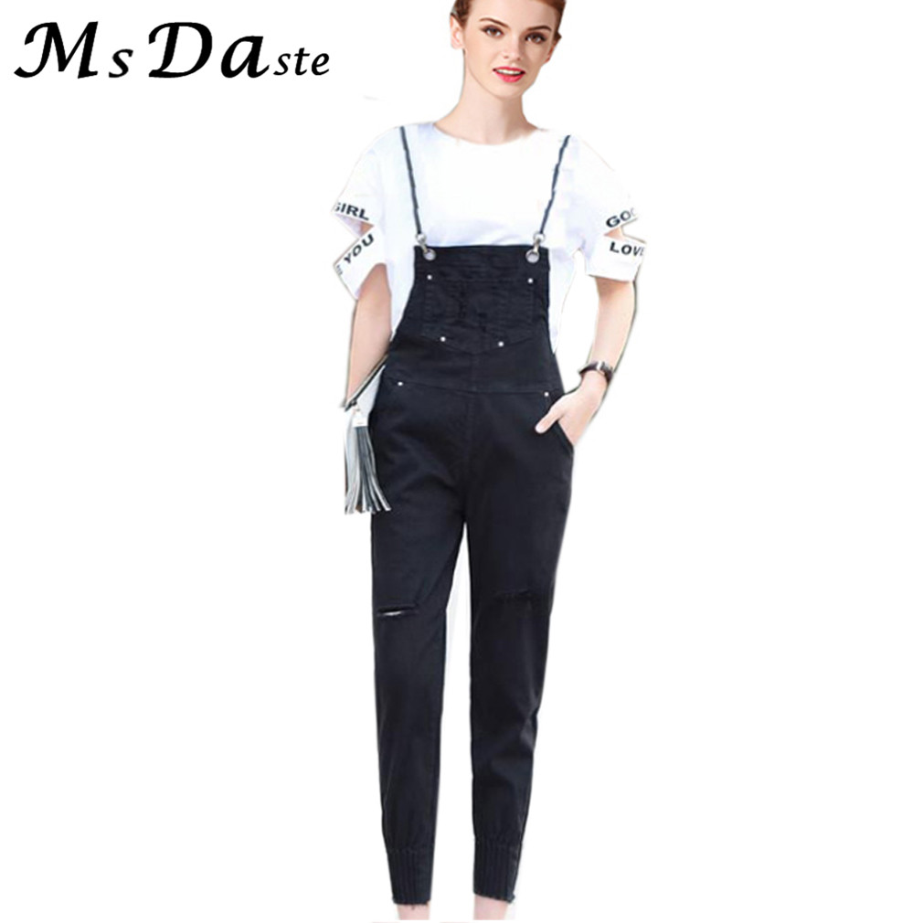 Jeans Mujer Pants Feminino Ripped Jeans for Women Overalls Ankle-length Woman Denim Rompers Pantalon Femme White Black W242 large size jeans for women spring new washing beading denim pants 2017 ripped jeans high waist slim ankle length pantalon femme