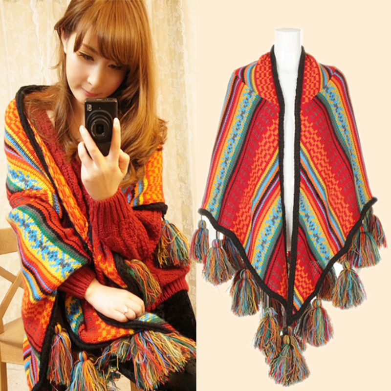 Winter Women Shawl Overwear Coat   Scarves   Boho Cardigan Knitted Poncho Capes Loose   Scarf     Wraps   With Tassel Hot Sale
